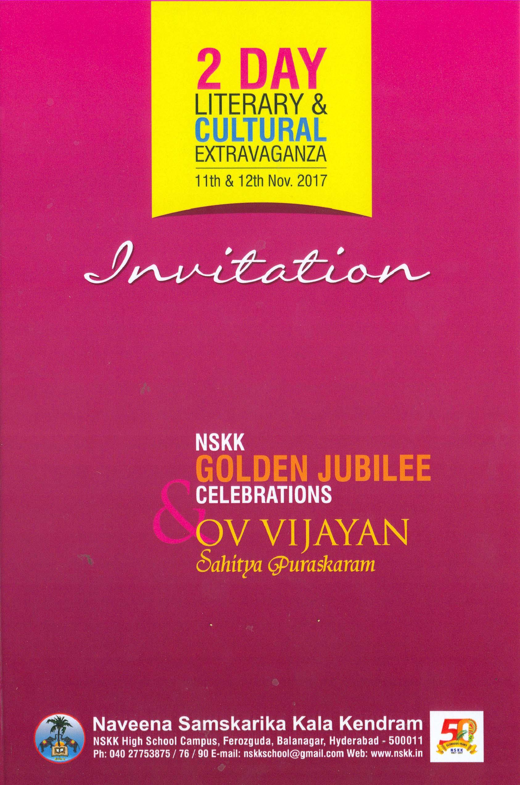 O V Vijayan & Golden Jubilee Cele. Pg 1